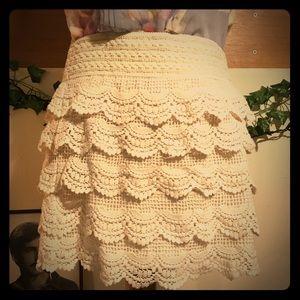 Jolt Crochet Layered Skirt Large